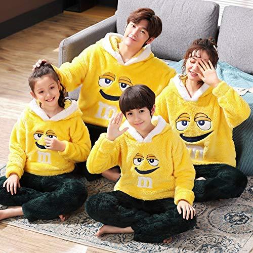 SDLRYF Winter Eltern-Kind-Familie Schlafanzug Set Kinder Flanell Schlafanzug Verdickte Plüsch Hoodie Langarm Tier Panda Women Men Homewear