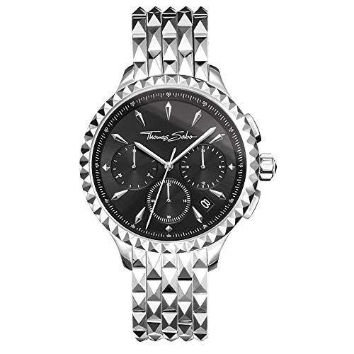 Thomas Sabo Damen Chronograph Quarz Uhr mit Edelstahl Armband WA0346-201-203-38 mm