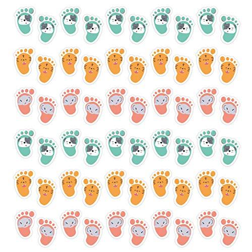 YiFeiCT 30 pares de pegatinas autoadhesivas para el suelo de los niños, diseño de dibujos animados, distancia social, decoración