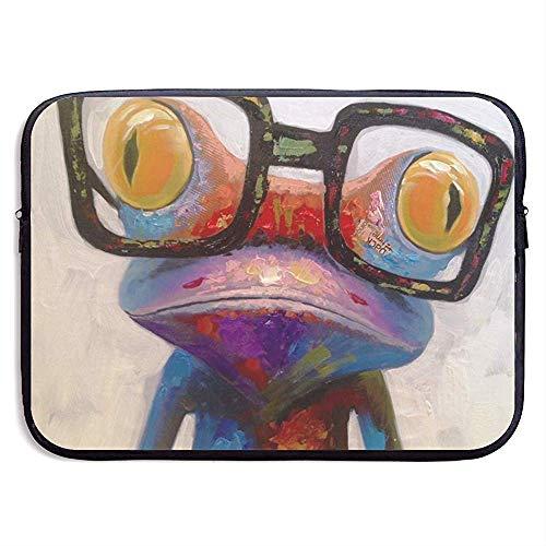 Laptop Schutzhülle Frosch mit Brille Notebooktasche Laptop Umhängetasche Schutz 15 Zoll
