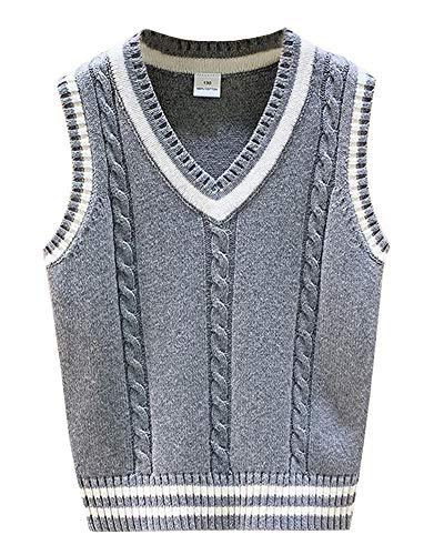 Strickweste Jungen V-Ausschnitt Ärmellos Sweater Pullover Studenten Weste Top Grau 120cm