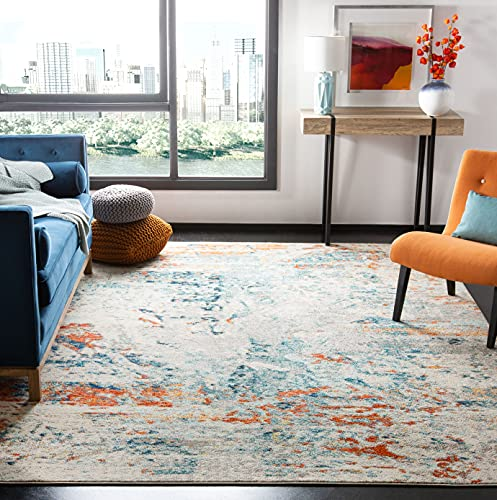 Safavieh Madison Collection MAD478B Modern Abstract Non-Shedding Living Room Bedroom Dining Home Office Area Rug, 5'3' x 7'6', Cream / Orange
