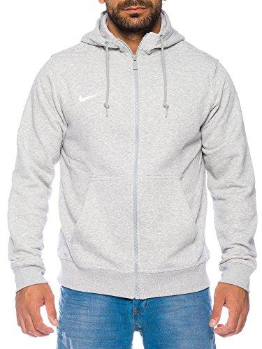 Nike Herren Sweatshirt Team Club Full Zip Kapuzenpullover, Grey Heather/White, S