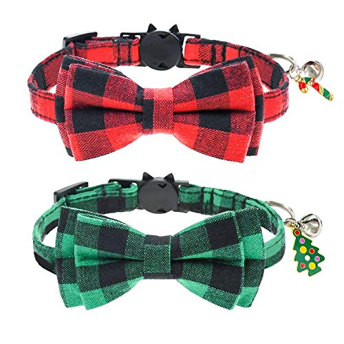 Malier 2 Pack Cat Collar Breakaway with Cute Bow Tie and Bell, Christmas Classic Plaid Pattern Collar with Adjustable Safety Buckle Suitable for Cats Kitty Kitten