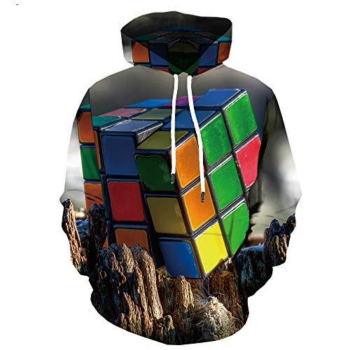 RIQWOUQT Sudaderas con Gráficos 3D,Mountain Rubik'S Cube Patrón Sudadera con Capucha Impresión Cool Creative Creative Soft Primavera Otoño Otoño Invierno Impresión 3D Pareja De Hombres Y Mujere