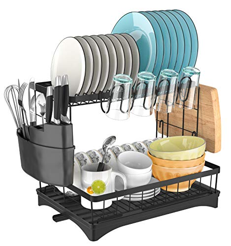 Dish Rack with Drainboard YASONIC 2 -Tier Dish Drying Rack for Kitchen Counter Stainless Steel Utensil Holder Knife Holder Cup Holder Cutting Board Holder Set