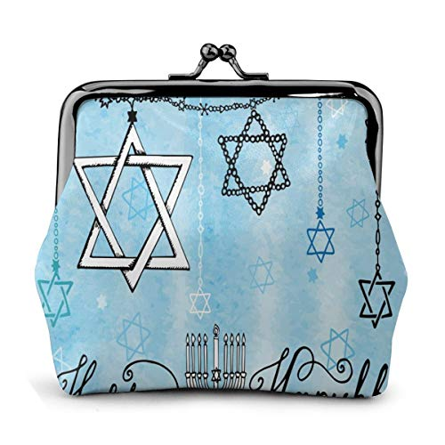 Women Girl Leather Coin Purse Blue Candle Happy Hanukkah Change Pouch With Kiss Lock Clasp Change Purse Key Holder Wallet
