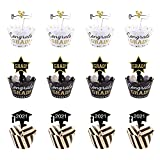 MOTZU 48 Pieces 2021 Graduation Cupcake Toppers and Wrappers, Glitter Graduation Cake Treat Picks Kit for Party Supplies Favors Decor, Congrats Grad Cupcake Decorations for Class of 2021