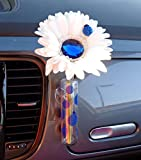 VW Beetle Flower - White and Blue Bling Daisy with Universal Vase