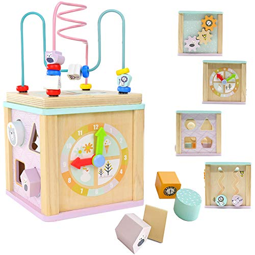 LEO & FRIENDS Activity Cube Wooden Toys for 1,2 Year Old Girl Gifts,12-18 Months Baby Toys for Preschool Learning,Montessori Bead Maze and Shape Sorter 5-in-1 Toys
