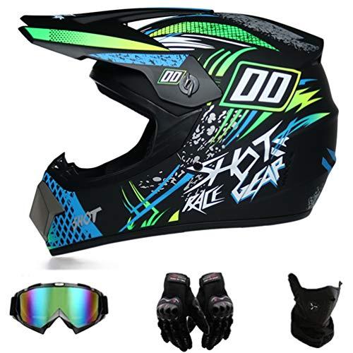 GD-SJK MX Motocross Helm Monster Kinder, Fullface Helm MTB mit Brille Handschuhe, Motorrad Crosshelm für Mountainbike ATV BMX Downhill Offroad,Fahrrad Motorrad ATV (L)