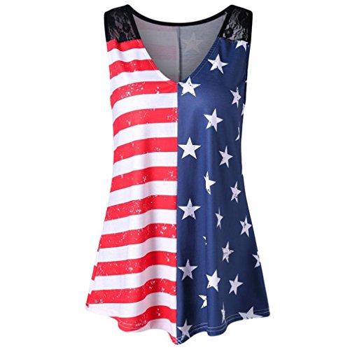 TOPUNDER 2018 Women American Flag Print Shirt Lace Tops Insert Tank V-Neck Blouse Red