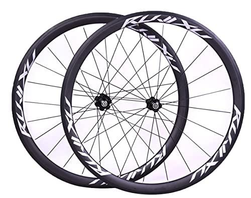 LSRRYD 700C Strada Bicicletta Ruotes Set Carbonio Cerchi Bici 29' 38/50mm C/V Freno Rilascio Rapido Ruota da Corsa 1556g 20/24 Fori Mozzo per 7/8/9/10/11 velocità Cassette