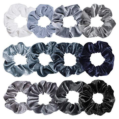 Chyang Premium Hair Scrunchies Velvet Elastics Scrunchy Bobbles Soft Hair Bandas Pelo Lazos (Color : Blue Gray)