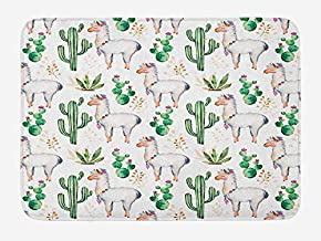 PdGAmats Cactus Bath Mat, Hot South Desert Plant Cactus Pattern with Camel Animal Modern Colored Image Print 23.6 W X 15.7 W Inches