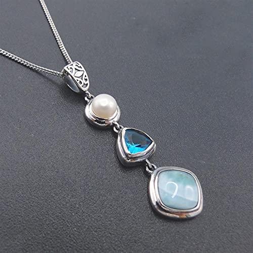 Makluce Larimar Stein Aguamarina, Colgante de Plata esterlina 925, Hermoso Remolque de Perlas LariMar de Laribbean Azul Natural (Hembra) (Gem Color : with Chain)