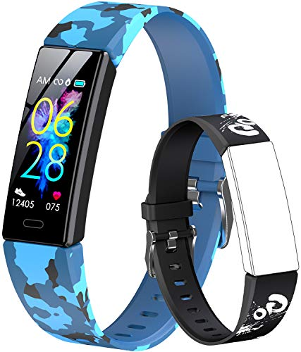 GOGUM Slim Fitness Tracker with Replacement Band for Kids Girls Boys Teens Age 5-16,Heart Rate Monitor,Activity Tracker,Alarm Clock,Pedometer,Sleep Monitor,Step Tracker Counter Watch (cf)