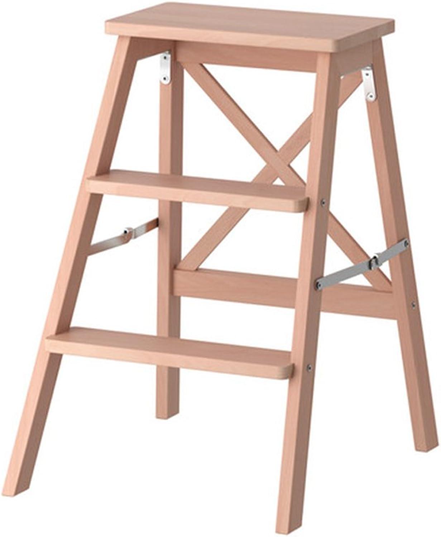 Qivor Step Stool, Solid Wood Folding Household Ladder Multi-function Step Stool (color    2)