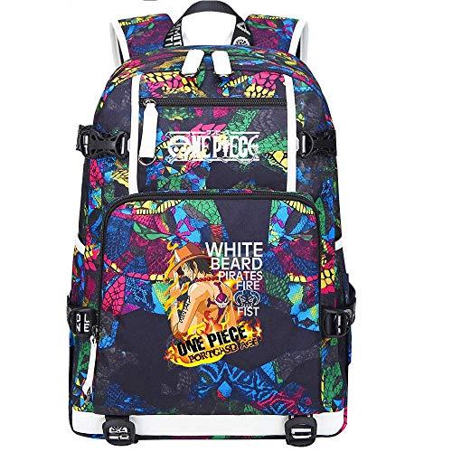 KCGNBQING Ace Anime Cosplay Bookbag College Bag Backpack Bolso de la Escuela con la Carga USB Port-B Mochila de Moda (Color : A)