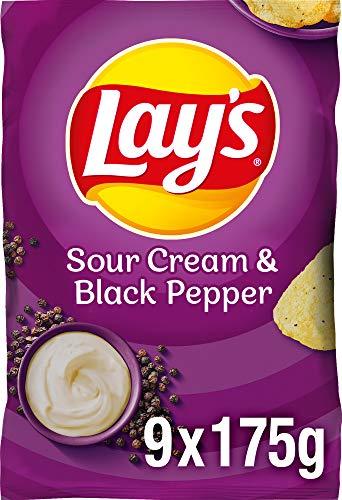 Lay's Sour Cream & Black Pepper - Knusprig gewürzte Kartoffelchips für eine gelungene Party - 9 x 175g