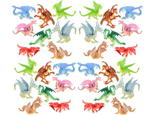 "HOWBOUTDIS Dragon Figurines – 2"" tall-24 pack –Assorted Colors and Designs- Party Favors - Cake Toppers – Holiday Gifts – Ages 3+"