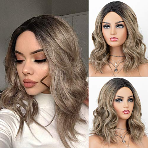 K'ryssma Short Bob Wigs Wavy Ash Brown Ombre Synthetic Wig with Black Roots Middle Parting for Women