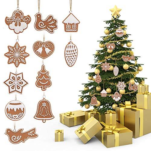 ZXXFR Ciondoli E Pendenti Natalizi,11Pcs Cartoon Animale Biscotti di Fiocco di Neve Appesi Ad Albero di Natale Ornamento Handmade Polymer Clay Carino Decorazioni Natalizie