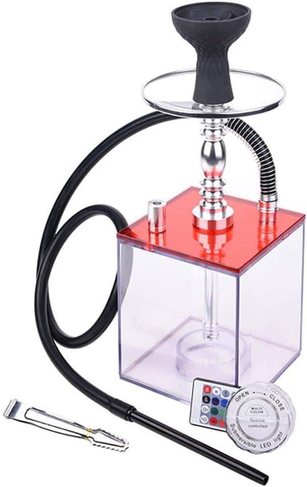 YONGCHY Pipa de Agua Conjunto Moderno Pipa de Agua con acrílico Cuenco/Luz LED Color/Manguera del silicón/carbón Clip, se Puede Utilizar en el Café Bar Discoteca