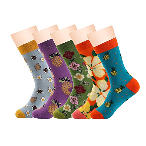 Socksy Stylez Dress Crew Socks – Casual High Ankle Multi Pack Cotton Soft Cute Novelty Flower Pattern Colorful Art for Men and Women 5 Pairs