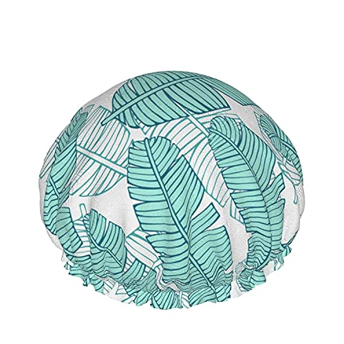 Double Layers Shower Cap,Tropical Leopard Animal White Hibiscus Flowers Palm Leaves,Reusable Waterproof Elastic Bath Caps for All Hair Lengths-style08-1pcs