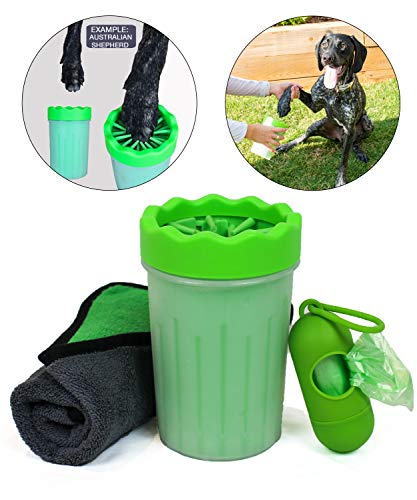 Dog Paw Cleaner Green Silicone Washer Bundle with Drying Towel and Dog Waste Bags