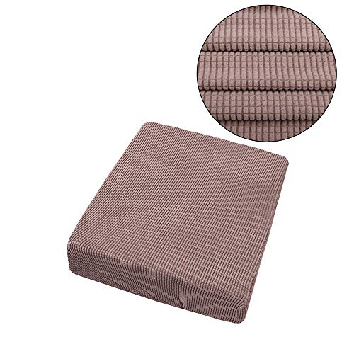 1-4 Seaters Sofa Cushion Cover Waterproof Jacquard Polyester Spandex Couch Seat Cover Solid Color Cushion Slipcover (No Cushion) KHAKI 1SEATER