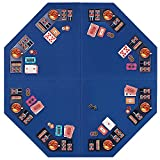 VIVOHOME Foldable 8-Player Texas Poker Card Tabletop Layout Portable Anti-Slip Rubber Board Game Mat with Cup Holders and Carrying Bag