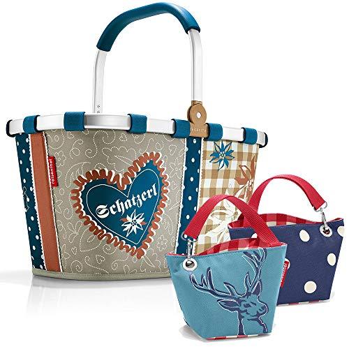 reisenthel Bavaria Serie mit Zugabe Einkaufskorb Tasche Shopper Reisetasche Rucksack Beutel (carrybag + Hirsch Blue)