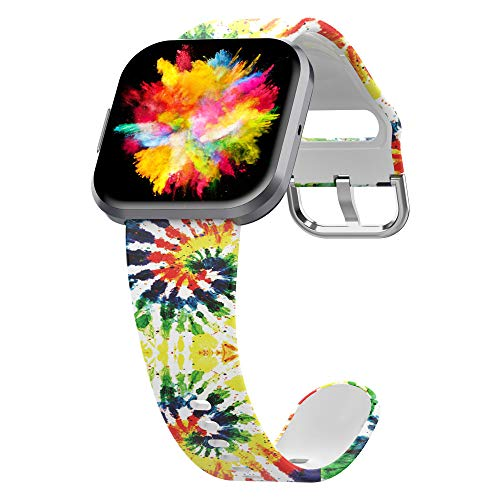 UooMoo Tie-dye Bands Compatible with Fitbit Versa/Fitbit Versa 2/Fitbit Versa Lite for Women Men,Soft silicone wristband Adjustable Replacement Wristband for Fitbit Versa Smart Watch (Yellow)