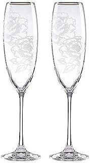 Lenox Silver Peony Crystal Toasting Flutes, Pair