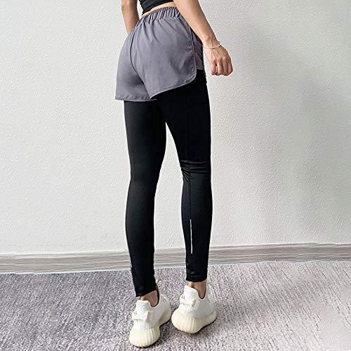 Moda Mujer Leggings Sólido Fitness Falso Dos Push Up Tobillo Leggings De Nailon Encaje Cintura Alta Bolsillo Leggins L Gris
