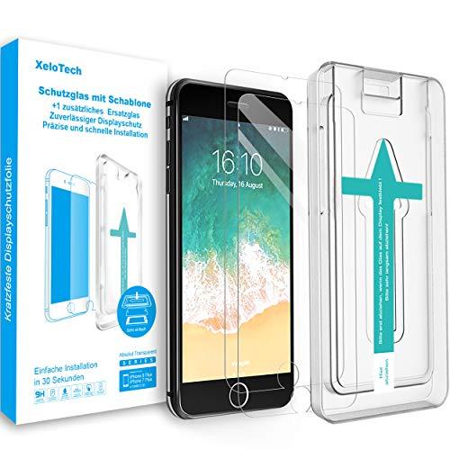 XeloTech 9H Schutzglas für iPhone 8 Plus /7 Plus (2 Stück) mit Schablone - 9H Hartglas Panzerfolie, Bildschirmschutzfolie, Schutz Folie