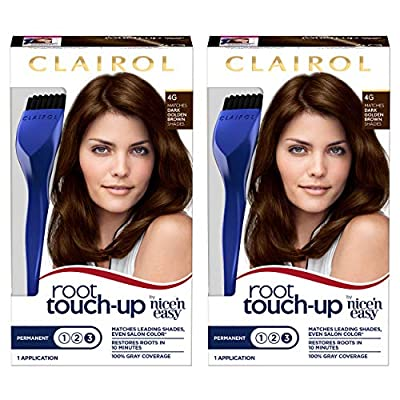 Clairol Nice 'n Easy Root Touch-Up 4G Kit (Pack of 2), Matches Dark Golden Brown Shades of Hair Coloring, Superior Grey Coverage (PACKAGING MAY VARY)
