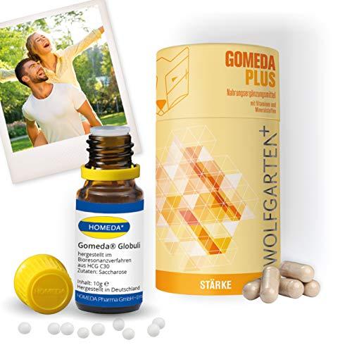 HOMEDA GOMEDA komplett Set • GOMEDA PLUS Kapseln (Nahrungsergänzungsmittel) zur Begleitung der hCG-Kur und GOMEDA Globuli (hCG-Aktivator-Globuli) • Original GOMEDA seit 2006