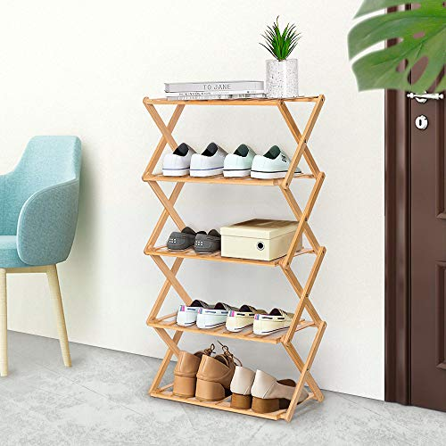 "Stony-Edge No Assembly Folding Shoe Rack Organizer, 2 Shelves, Home Shoe Storage Bench, Quality Furniture. Espresso Color. 28"" Wide."