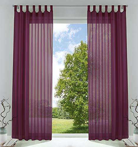 2er-Pack Gardinen Transparent Vorhang Set Wohnzimmer Voile Schlaufenschal mit Bleibandabschluß HxB 225x140 cm Brombeere, 61000CN