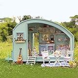 FHQCU Kit de Maison de poupée 3D, Maison de poupée en Bois Puzzle Jouet Fait à la Main LED Maison de poupée Miniature, Meilleur Cadeau pour Anniversaire de Noël pour Enfants et Adultes Maison de