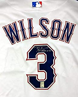 Russell Wilson Autographed Jersey - Texas Rangers White Majestic Cool Base Size 48 RW Holo Stock #72454