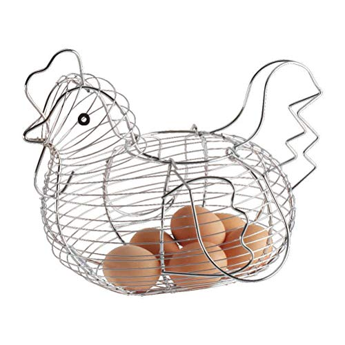 PEPENE Cesta de alambre organización, cesta de huevos en forma de pollo, cesta de alambre de almacenamiento de frutas para el hogar Kicthen