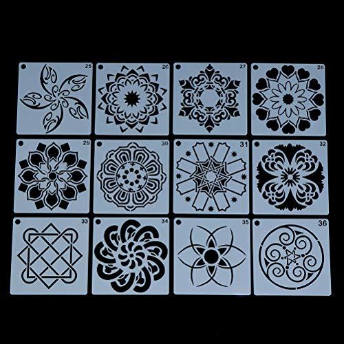 FADACAI 12 Stück Mandala DIY Schablonen für Kinder, Malschablonen mit verschiedenen Design-3,54-Zoll-Punkt Farbschablonen für DIY Dekor, Malerei auf Holz, Airbrush, Felsen und Wände Kunst