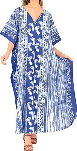 LA LEELA dames katoen kaftan tuniek batik kimono vrije maat lange maxi party jurk voor loungewear vakantie nachtkleding strand elke dag jurken IJ