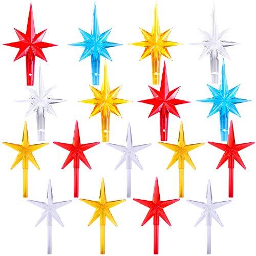 Ruisita 16 Pieces Plastic Ceramic Christmas Tree Star Topper 2 Size Plastic Colorful Replacement Stars for Ceramic Christmas Tree Decorations
