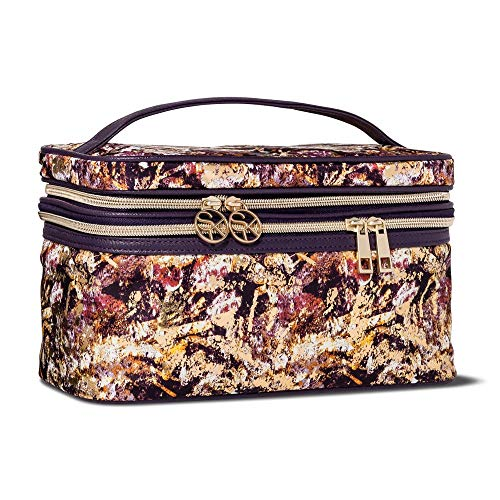 Sonia Kashuk - Cosmetic Bag Double Zip Train Case Distress Floral with Foil MULTI-COLORED