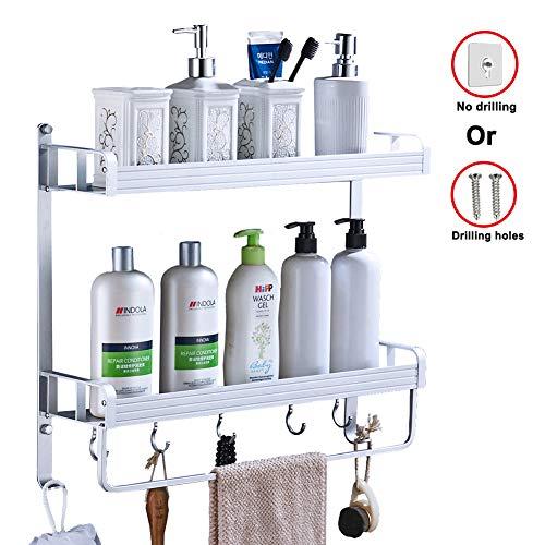Yeegout adhesivo estanteria ducha con barra de toalla y ganchos, aluminio Espesamiento estanteria baño sin taladro montado en la pared estante para baño para cocina (2 nivel)